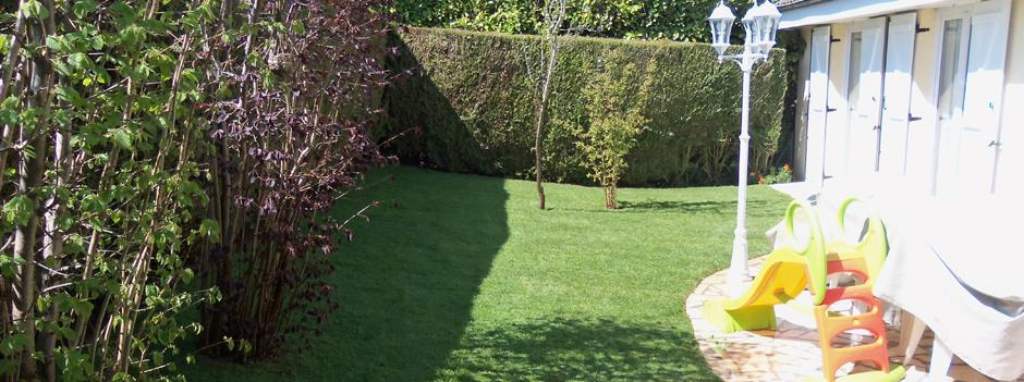 amenagement jardin gazon de placage
